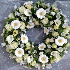 Loose All White Funeral Wreath