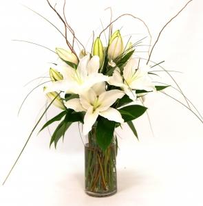 Oriental Lilies In Glass Vase