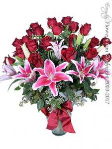Two Dozen Roses & Lilies