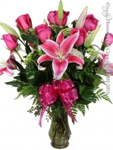 Pink Roses & Stargazers