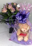 12 Coloured Roses In Gift Box With Teddy