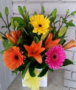 Box Of Gerberas & Lilies