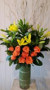 Vase Of Yellow & Orange