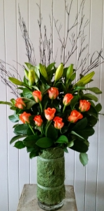Vase Of Orange Roses