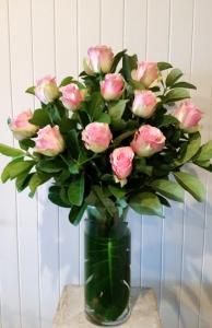 Vase Of Light Pink Roses