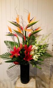 Vase Of Orange & Burgundy
