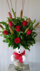 Vase Of Red Roses & Lily