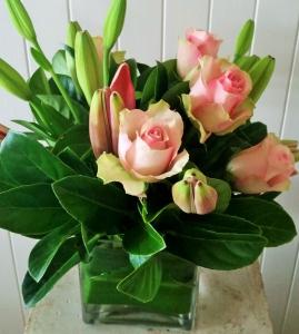 Square Vase Of Pinks