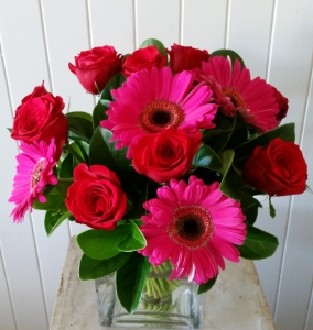 Square Vase Of Hot Pinks
