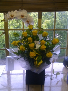 Roses and orchid plant