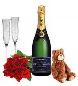 Romantic Roses/teddy/wine