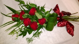 Six Red Rose Sheaf