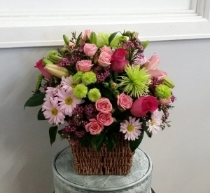 Pink Petals In A Basket