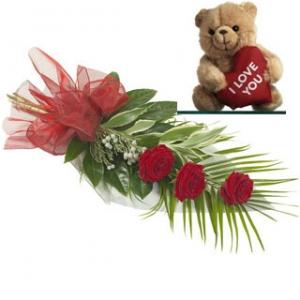3 Roses & Teddy Bear