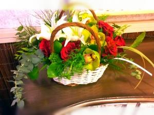 Cesta Mimbre Floral