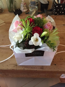 Posy In Vase In Carry Bag