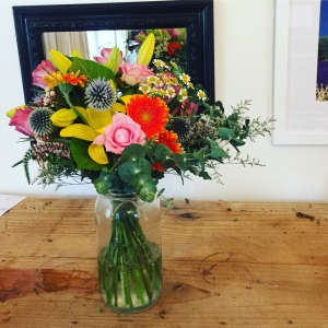 Colourful Posy In Jar
