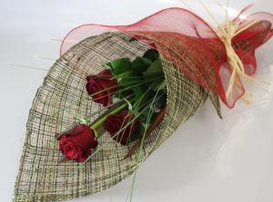 Three Long Stem Red Roses