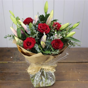Oriental Lily & Red Rose
