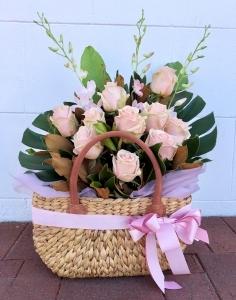 Pink Rose Market Basket