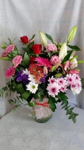 Seasonal Bouquet In Glass