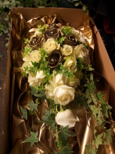 Gold & White Rose Bouquet