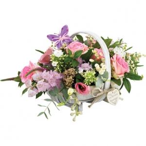 Vintage Basket Of Flowers
