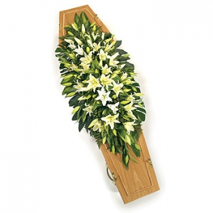 White Liliy Casket Spray