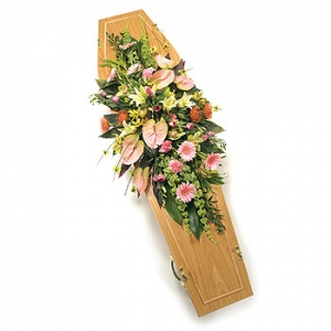Pink & Cream Casket Spray