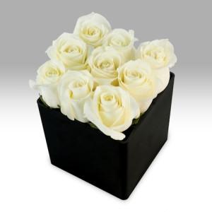 White Roses & Cube Vase