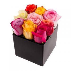 Mix Roses & Cube Vase
