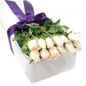 Dozen Pink Roses Boxed