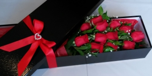 12 Roses In Rose Box