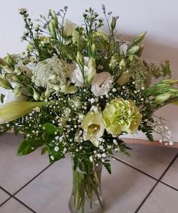 White/Green Glass Vase