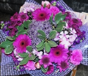 Hand Tied Bouquet In Purp