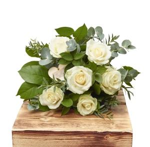 Half Dozen White Roses