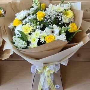 Lemons And Cream Hand Tied Bouquet