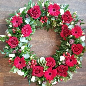 Red Funwral Wreath