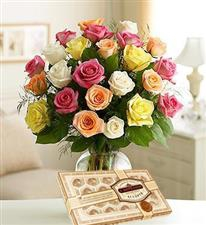 25 Mixed Roses + Chocs