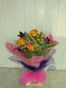 Rainbow Roses Handtied