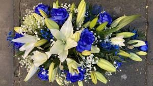 Lily And Blue Rose Spray