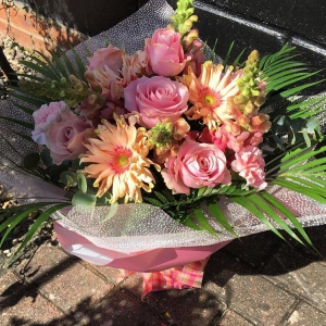 Rose And Gerbra Hand Tied