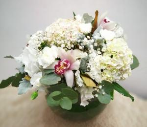 White Fishbowl Flowers