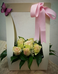 White Basket With Roses