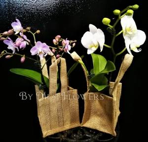 Hessian Orchid Bag