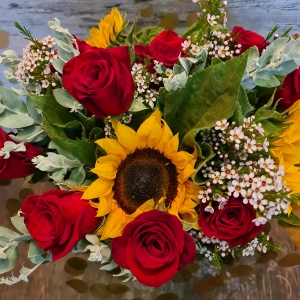 Red Roses And Sunflowers.