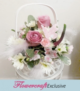 Feathers & Pearls Basket