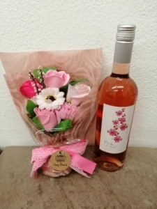 Pink Soap Flower And Wine