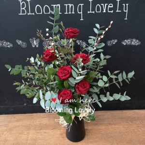 6 Red Roses Into Vase