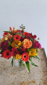 Flower Posy In Glass Vase